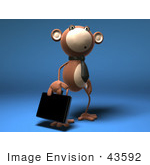 #43592 Royalty-Free (Rf) Illustration Of A 3d Monkey Mascot Businessman Carrying A Briefcase - Version 3