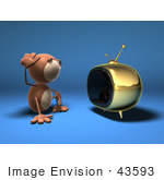 #43593 Royalty-Free (Rf) Illustration Of A 3d Monkey Mascot Watching Tv - Version 3