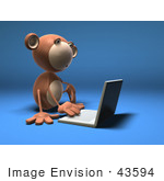 #43594 Royalty-Free (Rf) Illustration Of A 3d Monkey Mascot Using A Laptop - Version 1
