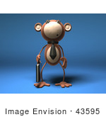 #43595 Royalty-Free (Rf) Illustration Of A 3d Monkey Mascot Businessman Carrying A Briefcase - Version 1