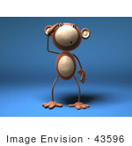 #43596 Royalty-Free (Rf) Illustration Of A 3d Monkey Mascot With A Confused Expression - Version 5