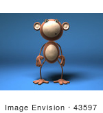 #43597 Royalty-Free (Rf) Illustration Of A 3d Monkey Mascot With A Confused Expression - Version 1