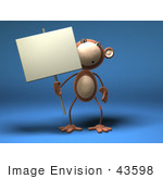 #43598 Royalty-Free (Rf) Illustration Of A 3d Monkey Mascot Holding A Sign On A Post - Version 3