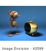 #43599 Royalty-Free (Rf) Illustration Of A 3d Monkey Mascot Watching Tv - Version 1