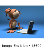 #43600 Royalty-Free (Rf) Illustration Of A 3d Monkey Mascot Using A Laptop - Version 3
