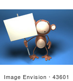 #43601 Royalty-Free (Rf) Illustration Of A 3d Monkey Mascot Holding A Sign On A Post - Version 1