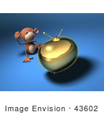 #43602 Royalty-Free (Rf) Illustration Of A 3d Monkey Mascot Watching Tv - Version 5