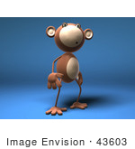 #43603 Royalty-Free (Rf) Illustration Of A 3d Monkey Mascot With A Confused Expression - Version 3