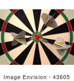 #43605 Royalty-Free (Rf) Illustration Of A Dartboard With Darts - Version 1