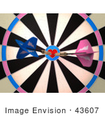 #43607 Royalty-Free (Rf) Illustration Of A Dartboard With Darts - Version 2