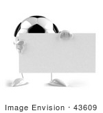#43609 Royalty-Free (Rf) Illustration Of A 3d Soccer Ball Mascot With Arms And Legs Holding A Blank Sign - Version 1