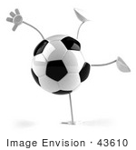 #43610 Royalty-Free (Rf) Illustration Of A 3d Soccer Ball Mascot With Arms And Legs Doing A Cartwheel