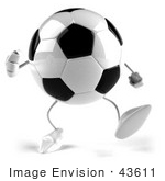 #43611 Royalty-Free (Rf) Illustration Of A 3d Soccer Ball Mascot With Arms And Legs Walking Forward