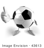 #43613 Royalty-Free (Rf) Illustration Of A 3d Soccer Ball Mascot With Arms And Legs Giving The Thumbs Up - Version 2