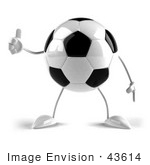 #43614 Royalty-Free (Rf) Illustration Of A 3d Soccer Ball Mascot With Arms And Legs Giving The Thumbs Up - Version 1