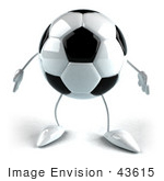 #43615 Royalty-Free (Rf) Illustration Of A 3d Soccer Ball Mascot With Arms And Legs Facing Front