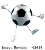 #43616 Royalty-Free (Rf) Illustration Of A 3d Soccer Ball Mascot With Arms And Legs Jumping