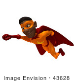 #43628 Royalty-Free (Rf) Cartoon Illustration Of A Flying Black Male 3d Superhero Mascot With One Fist Forward