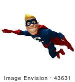 #43631 Royalty-Free (Rf) Cartoon Illustration Of A Male 3d Superhero Mascot Smiling And Flying By