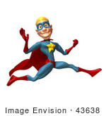 #43638 Royalty-Free (Rf) Cartoon Illustration Of A Male 3d Superhero Mascot Leaping Past And Waving