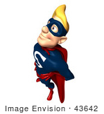 #43642 Royalty-Free (Rf) Cartoon Illustration Of A Pleased Blond 3d Male Superhero Mascot Smiling Up And To The Left