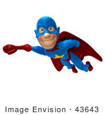 #43643 Royalty-Free (Rf) Cartoon Illustration Of A Friendly 3d Superhero Mascot Smiling And Flying Past
