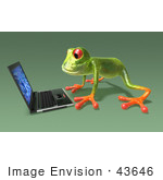 #43646 Royalty-Free (Rf) Cartoon Illustration Of A 3d Green Tree Frog Character Using A Laptop - Pose 4