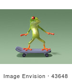 #43648 Royalty-Free (Rf) Cartoon Illustration Of A 3d Green Tree Frog Character Skateboarding - Pose 6