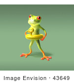 #43649 Royalty-Free (Rf) Cartoon Illustration Of A 3d Green Tree Frog Character Wearing A Ducky Inner Tube - Pose 5