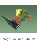 #43652 Royalty-Free (Rf) Cartoon Illustration Of A 3d Green Tree Frog Character Using A Laptop - Pose 6