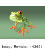 #43654 Royalty-Free (Rf) Cartoon Illustration Of A 3d Green Tree Frog Character Looking Curiously At The Viewer