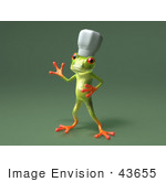 #43655 Royalty-Free (Rf) Cartoon Illustration Of A 3d Green Tree Frog Character Chef Wearing A Hat - Pose 6