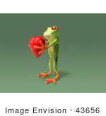 #43656 Royalty-Free (Rf) Cartoon Illustration Of A 3d Green Tree Frog Character Holding A Love Heart - Pose 7