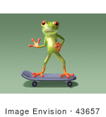 #43657 Royalty-Free (Rf) Cartoon Illustration Of A 3d Green Tree Frog Character Skateboarding - Pose 7