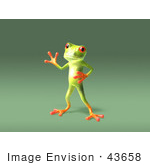 #43658 Royalty-Free (Rf) Cartoon Illustration Of A 3d Green Tree Frog Character Waving - Pose 6