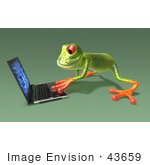 #43659 Royalty-Free (Rf) Cartoon Illustration Of A 3d Green Tree Frog Character Using A Laptop - Pose 5