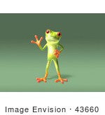 #43660 Royalty-Free (Rf) Cartoon Illustration Of A 3d Green Tree Frog Character Waving - Pose 4