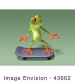 #43662 Royalty-Free (Rf) Cartoon Illustration Of A 3d Green Tree Frog Character Skateboarding - Pose 10