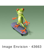 #43663 Royalty-Free (Rf) Cartoon Illustration Of A 3d Green Tree Frog Character Skateboarding - Pose 9