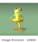 #43664 Royalty-Free (Rf) Cartoon Illustration Of A 3d Green Tree Frog Character Wearing A Ducky Inner Tube - Pose 7