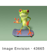 #43665 Royalty-Free (Rf) Cartoon Illustration Of A 3d Green Tree Frog Character Skateboarding - Pose 8