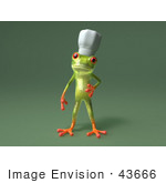 #43666 Royalty-Free (Rf) Cartoon Illustration Of A 3d Green Tree Frog Character Chef Wearing A Hat - Pose 5
