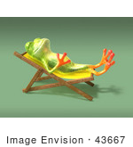 #43667 Royalty-Free (Rf) Cartoon Illustration Of A 3d Green Tree Frog Character Sun Bathing - Pose 4