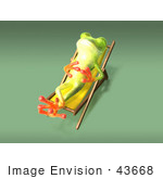 #43668 Royalty-Free (Rf) Cartoon Illustration Of A 3d Green Tree Frog Character Sun Bathing - Pose 6