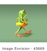 #43669 Royalty-Free (Rf) Cartoon Illustration Of A 3d Green Tree Frog Character Wearing A Ducky Inner Tube - Pose 8