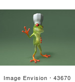 #43670 Royalty-Free (Rf) Cartoon Illustration Of A 3d Green Tree Frog Character Chef Wearing A Hat - Pose 7