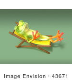 #43671 Royalty-Free (Rf) Cartoon Illustration Of A 3d Green Tree Frog Character Sun Bathing - Pose 5