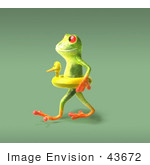 #43672 Royalty-Free (Rf) Cartoon Illustration Of A 3d Green Tree Frog Character Wearing A Ducky Inner Tube - Pose 6