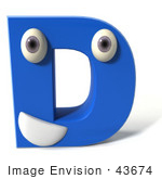 #43674 Royalty-Free (Rf) Illustration Of A 3d Blue Alphabet Letter D Character With Eyes And A Mouth