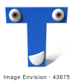 #43675 Royalty-Free (Rf) Illustration Of A 3d Blue Alphabet Letter T Character With Eyes And A Mouth